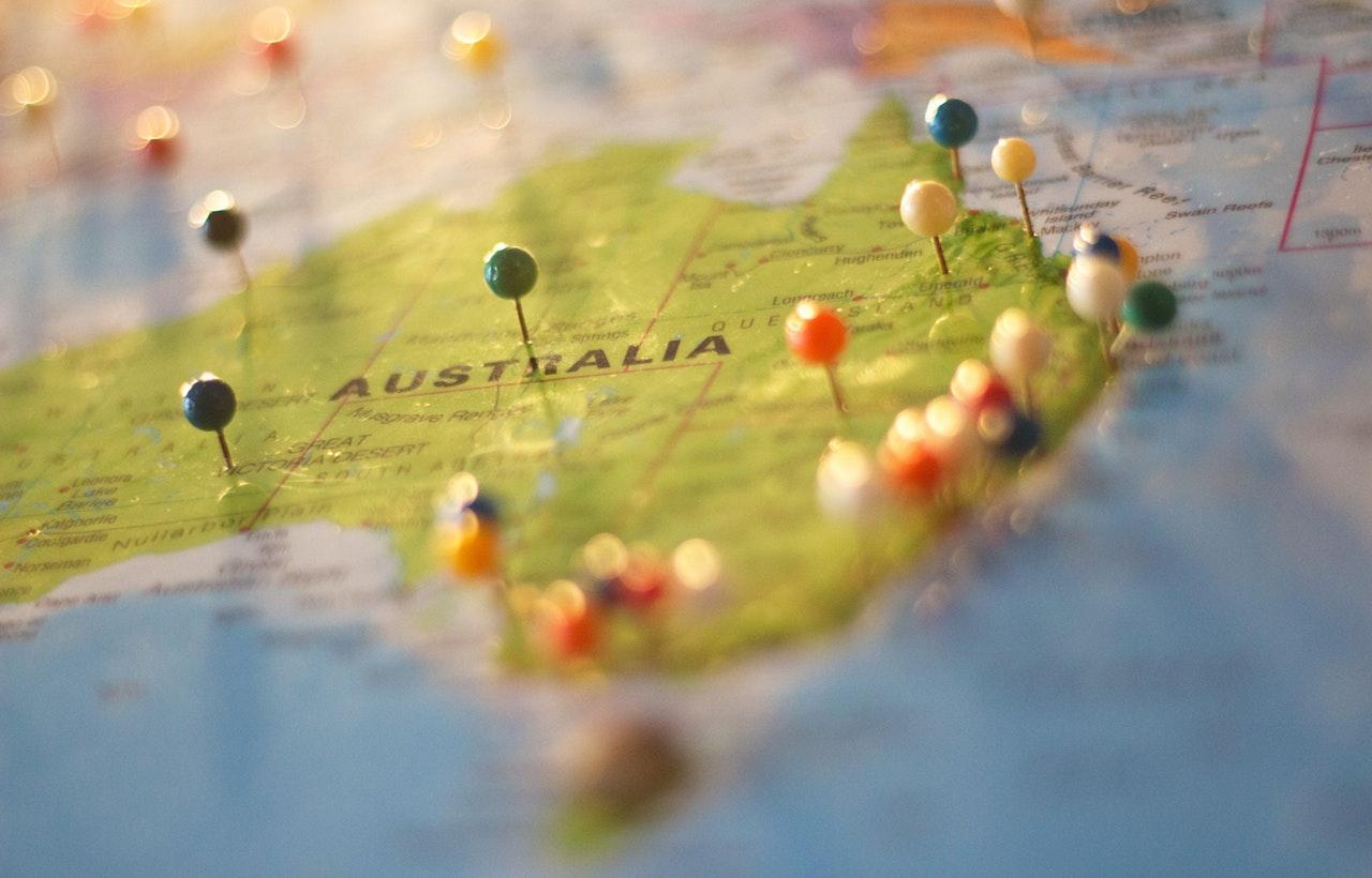 Australia sulla cartina